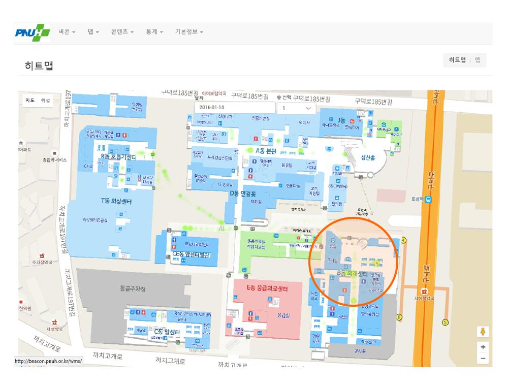 피플앤드테크놀러지 RTLS 비콘 IndoorLBS 동선히트맵